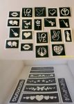 10 - 150  Festival themed stencils (mixed) for glitter tattoos / airbrush / face painting  Rewind V